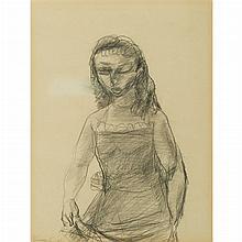 Yasuo Kuniyoshi American, 1893-1953 Girl in Chemise, 1940   Signed Kuniyoshi and dated 40 (ll), inscri...