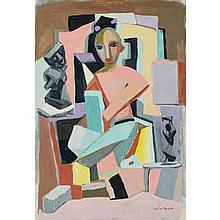Jose de Creeft American, 1884-1982 Figure with Sculpture