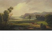 American School 19th Century Hudson River Landscape with Cows and Sheep