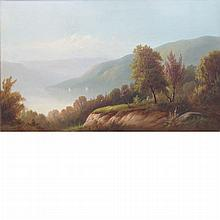 American School 19th Century Hudson River with Four Sailboats in the Distance