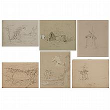 John William Hill or John Henry Hill Sketches: Two; T/w Attributed to John William Hill or John Henry Hill Sketches: Four