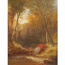 American School 19th Century Woodland Interior