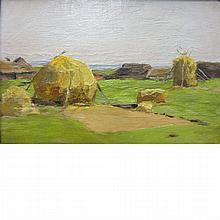 American School Late 19th/20th Century Study of Haystacks