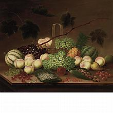 R. Howe American, 19th/20th Century Still Life with Fruit, Berries and a Straw Basket on a Tabletop