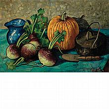 Richard Hayley Lever American, 1876-1958 Still Life with Pumpkin and Turnips