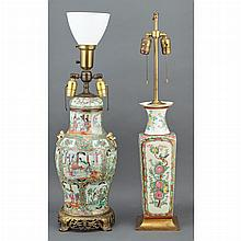 Chinese Export Porcelain Famille Rose Vase Mounted as a Lamp; Together with a Chinese Export Style Porcelain Lamp