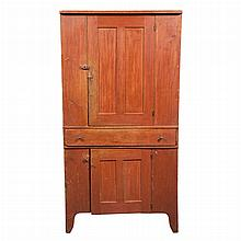 Red Painted Pine Cupboard   19th Century With two cupboard doors and a single drawer. Height 6 feet 4 1/2 inches, width...