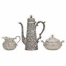 Jacobi & Jenkins Sterling Silver Demitasse Service    Circa 1894-1908Comprising demitasse coffee pot, cream jug and...