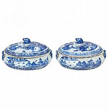 Pair of Chinese Export Blue and White Porcelain Covered Dishes   First half of the 19th century Each of oval bombe form, w...