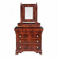 Classical Mahogany Dresser   Second quarter of the 19th century The rectangular upright mirror plate with a pointed arch p...