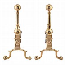 Pair of Queen Anne Bell Metal Andirons   18th Century Each raised on claw and ball feet. Height 17 1/2 inches.