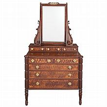 Classical Mahogany and Bird's-Eye Maple Dressing Table with Mirror   Attributed to Thomas Seymour, Boston, Massachusetts, I...