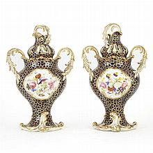 Pair of English Porcelain Potpourri Vases; Together with Two Chinese Famille Rose Porcelain Covered Jars