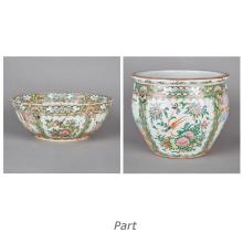Chinese Export Porcelain Famille Rose Punch Bowl; Together with a Similar Chinese Export Porcelain Style Jardiniere