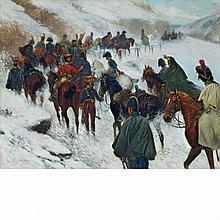 Jan Van Chelminski Polish, 1851-1925 Napoleon Passing through the Guadarrama Mountains, 1808   Signed Jan V. Ch...