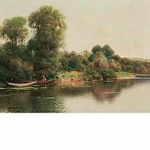 Emilio Sanchez-Perrier Spanish, 1855-1907 A Quiet Stretch of the River