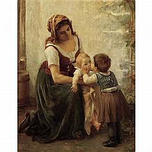 Timoleon Marie Lobrichon French, 1831-1914 This Kiss (Mother and Children)