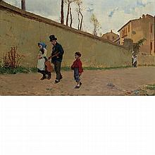 Lorenzo Valles Spanish, 1830-1910 Street Musicians