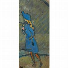 Louis Valtat French, 1869-1952 Fillette en Bleu, 1918   Stamped L.V. (ll) Oil on cardboard laid down on pa...