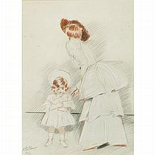 Paul Cesar Helleu French, 1859-1927 Mother and Child, 1902