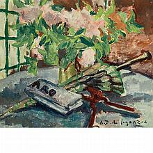 Andre Dunoyer de Segonzac French, 1884-1974 Nature Morte Avec Pivoines, Ombrelle et Figaro, 1936   Signed A. D....