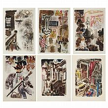 George Grosz BAGDAD-ON-THE-SUBWAY Complete set of 6 color collotypes, four framed