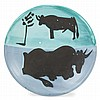Pablo Picasso TOROS Painted and partially glazed ceramic dish
