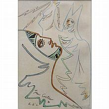 Jean Cocteau French, 1889-1963 Two Figures