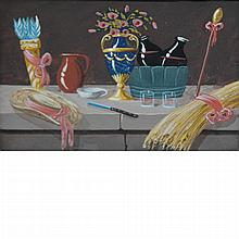 European School  19th Century Moonlight Sleighride; Together with French School 20th Century Still Lifes of Objects on Ledges: Two