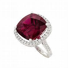 White Gold, Rubellite and Diamond Ring