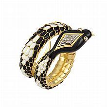 Gold, Black and White Enamel and Diamond Snake Bracelet