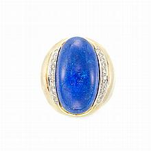Gold, Lapis and Diamond Ring