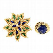 Gold, Green and Blue Enamel and Diamond Flower Brooch and Gold, Lapis and Diamond Ring