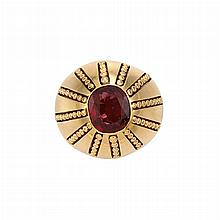Gold and Red Spinel Ring