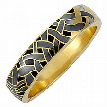 Gold, Hematite, Black Jade and Mother-of-Pearl Bangle Bracelet, Tiffany & Co.