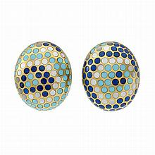 Pair of Gold, Turquoise, Lapis and Mother-of-Pearl Earrings, Angela Cummings
