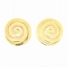 Pair of Gold Spiral Earclips