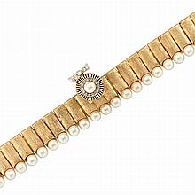 Gold, Cultured Pearl and Diamond Bracelet-Watch, Baume & Mercier