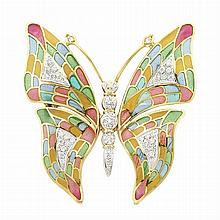 Gold, Plique-a-Jour Enamel and Diamond Butterfly Clip-Brooch