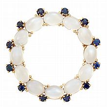 Gold, Moonstone and Sapphire Circle Pin, Tiffany & Co.