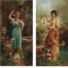 Hans Zatzka Austrian, 1859-1945 Fluttering Butterflies and Return from the Well: Two