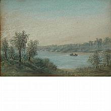 European School 20th Century Boaters in a Landscape: Two