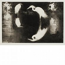 Frank Weston Benson DARK POOL Drypoint
