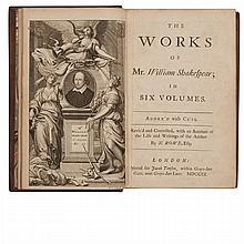 SHAKESPEARE, WILLIAM The Works of Mr. William Shakespear; in Six Volumes. Adorn'd with cuts. Revis'd and Corrected, with an Account .