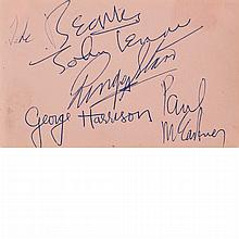 [THE BEATLES] Set of The Beatles autographs on a single sheet excised from an autograph album. The sheet headed