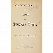 [INDIAN LAWS - MUSKOGEE] Group of five volumes, each in 20th century cloth with red and black lettering labels. Comprising:...