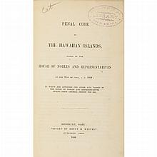 [HAWAII] Penal Code of the Hawaiian Islands, Passed by the House of Nobles and Representatives on the 21st of June, 1850; to wh...