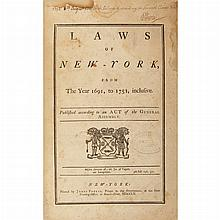 [NEW YORK - LIVINGSTON, WILLIAM and SMITH, WILLIAM, Jr. - compilers] Laws of New-York, from the Year 1691, to 1751, inclusiveD...