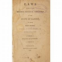 [ILLINOIS] Group of early state laws, 1819-1839, seventeen volumes in 20th century cloth, comprising an incomplete copy of t...