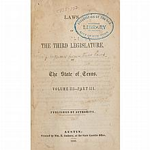 [TEXAS] Group of Texas legal imprints, 1850-60, seventeen volumes in 20th century cloth, being General and Special Laws. Com...